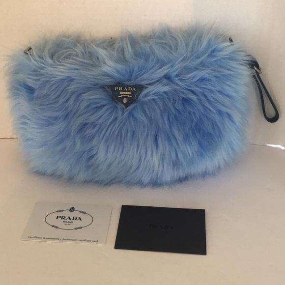 a89860b506a3 Prada baby blue Eco Pellicia faux fur clutch new. M 5a9ee3531dffda8387c49305